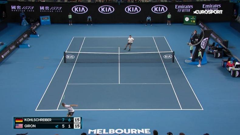 Philipp Kohlschreiber a marqué, de loin, le plus beau point de la première journée de l'Open d'Australie 2020.