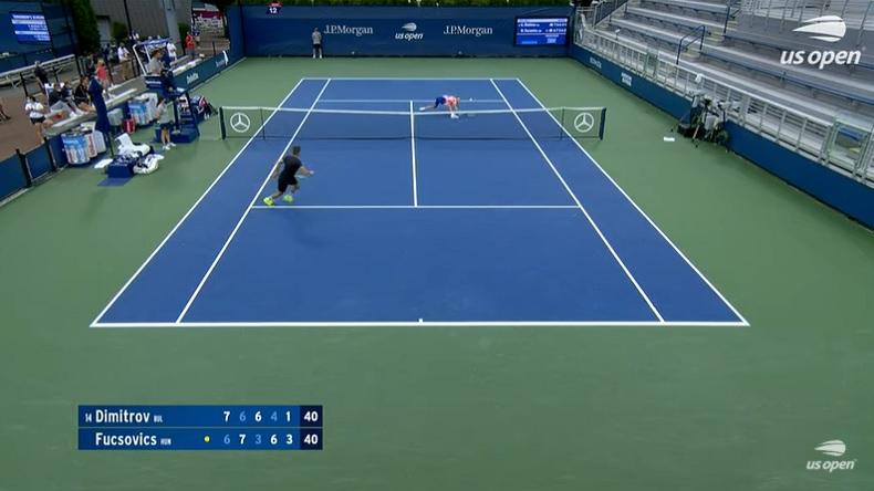 Un rallye de 28 frappes superbe entre Fucsovics et Dimitrov, à l'US Open 2020.