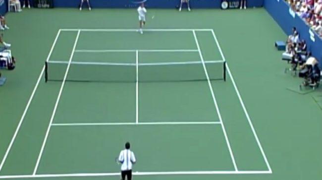 Un coup droit supersonique de Jérôme Golmard (US Open 2004)