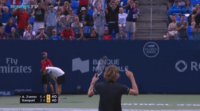 Zverev sauve une balle de match contre Gasquet sur un rallye de mammouth de 49 frappes (Montréal 2017)