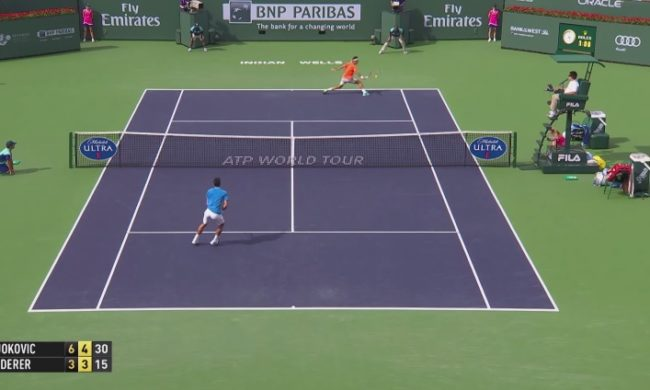 Une transition défense/attaque énorme de Federer (Finale Indian Wells 2015)